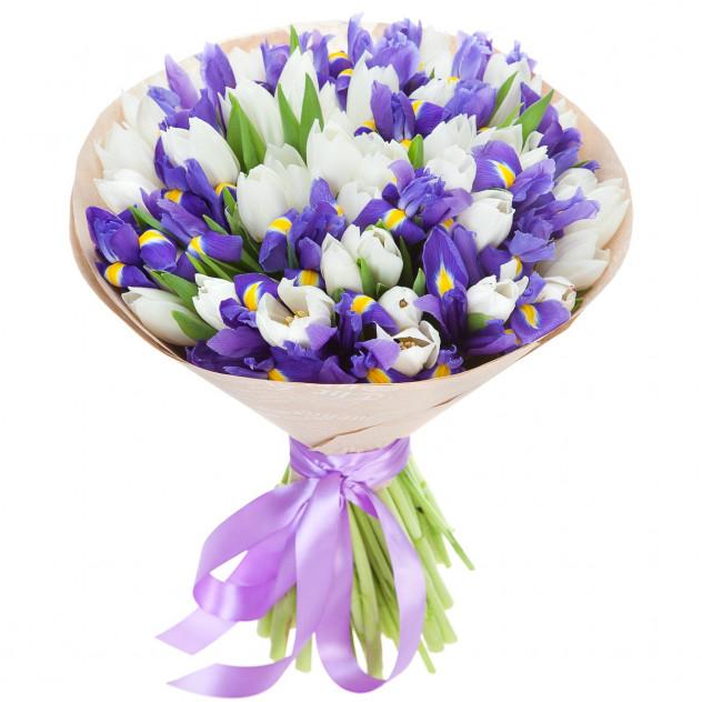 Букет из тюльпанов и ирисов