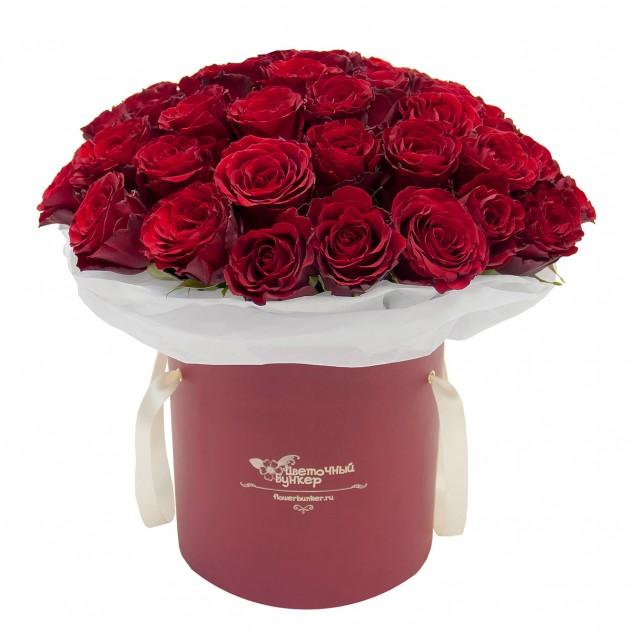 """Розы в шляпной коробке """"Бархатный рай"""""""