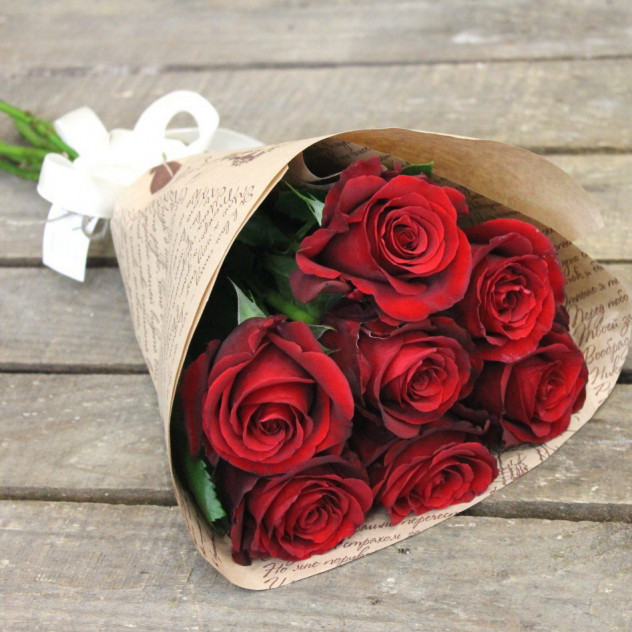 """Букет из 7 красных роз """"Письмо Татьяны"""""""