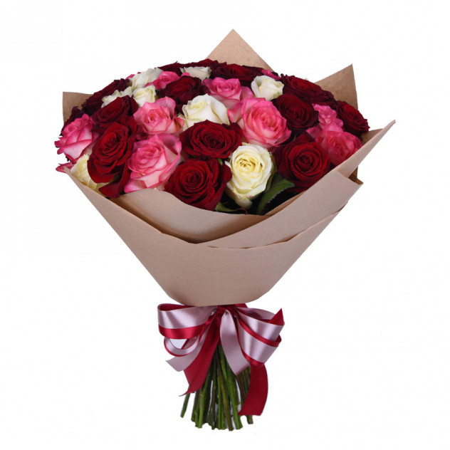 """Букет из 35 роз """"Ягодная палитра"""""""