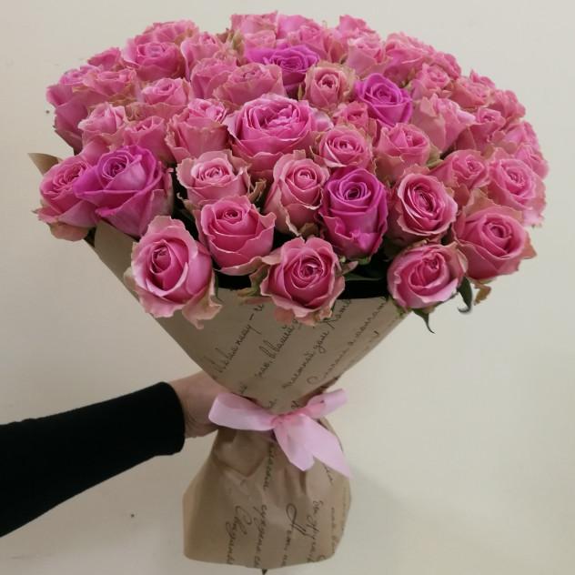 "Букет из розовых роз ""Закат на Бали"""