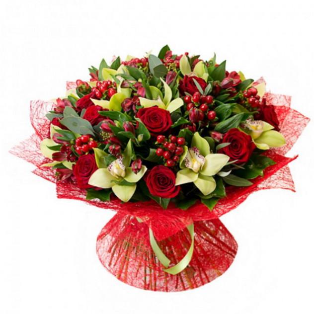 """Букет с орхидеями """"Сердечный друг"""""""