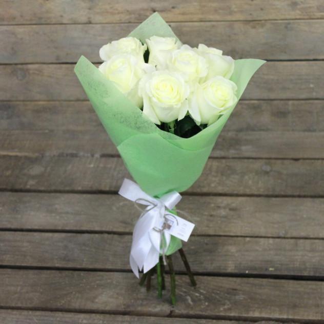 """Букет из 7 белых роз """"Анастасия"""""""