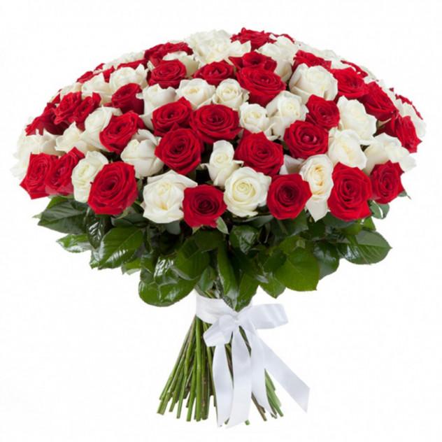 """Букет из 101 розы """"Белое и красное"""""""