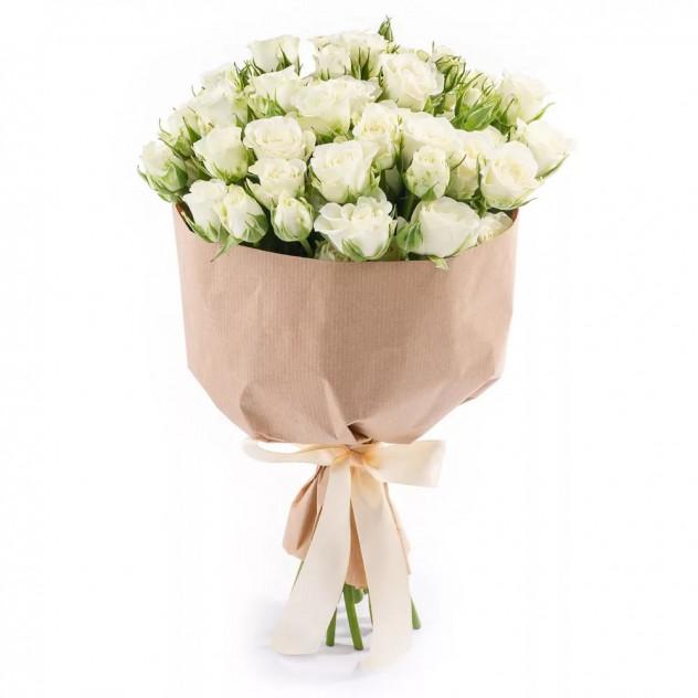 """Букет из белых кустовых роз """"Елизавета"""""""