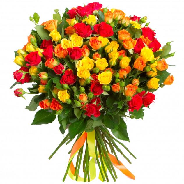 """Букет из 25 кустовых роз """"Осенний закат"""""""