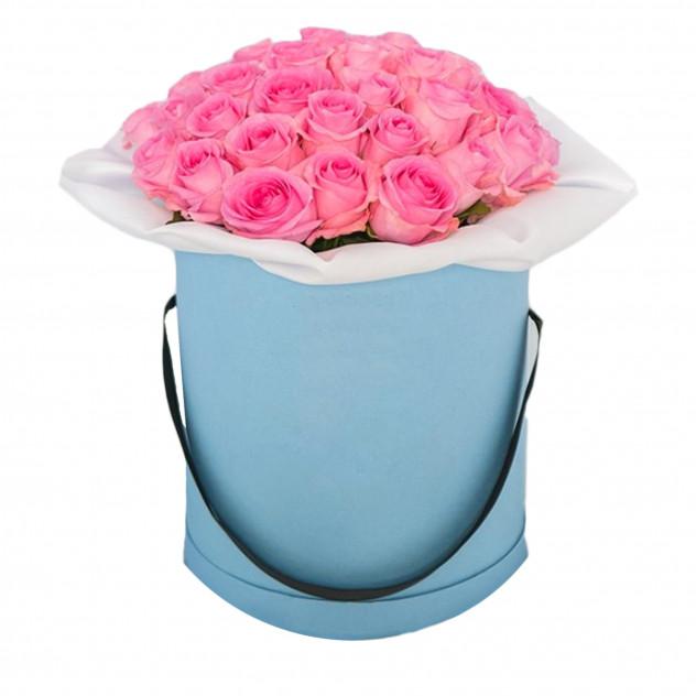 """Розы в шляпной коробке """"Лазурное небо"""""""