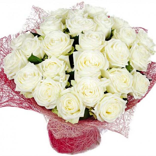 """Букет из белых роз """"Лунная ночь"""""""