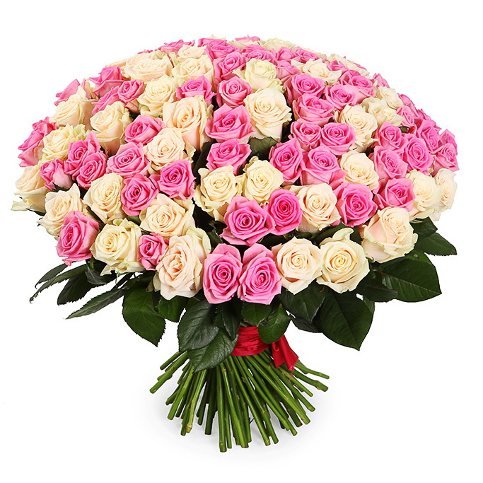 Букет из 101 белой и розовой розы