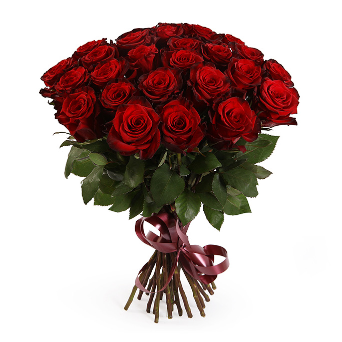Букет из 25 красных роз премиум
